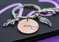 Memorial Jewelry Mom, Dad, Remembrance Penny keychain, personalized, sympathy gift,  loss of loved one, key ring - Designs By Tera