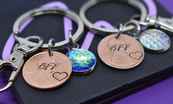 Penny Keychain Best Friends Keychain Set - Couples Keychain Set of 2 - Mermaid, penny, scales, personalized, Custom Keychain - Designs By Tera
