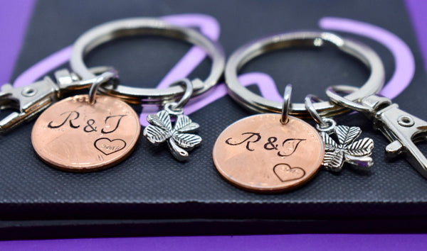 Personalized Penny keychain Boyfriend Gift, lucky us, shamrock Penny Anniversary Gift for Men - Valentines Gift - Couples Keychain Set