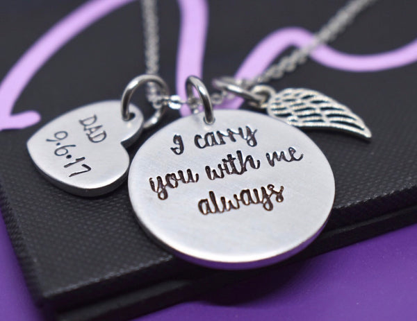 Memorial Necklace Dad, Loss of Mom Jewelry, Dad sympathy Gift, Remembrance, I carry you with me, for daughter - Designs By Tera
