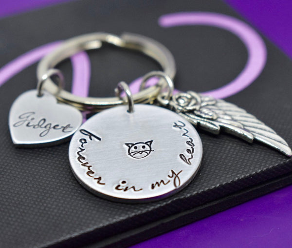Cat Pet Memorial Gift - Personalized Pet loss Gifts Keychain - Kitten Cat - Jewelry - Cat Remembrance - Fur Baby - In Memorial - Sympathy - Designs By Tera