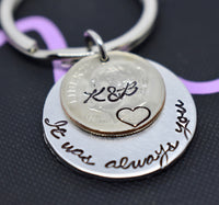 Anniversary Gift for Men, Valentines, 10 year Anniversary, Couples, Personalized Keychain 2009 dime Wedding Gift - Designs By Tera