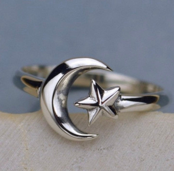 Moon and star, Valentine's day gift, sterling silver ring, adjustable , moon of my life, sun and stars, ring - Designs By Tera