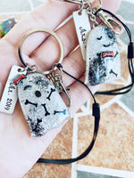 Halloween Couple Keychain set, ghost bones set of 2 resin keychain, personalized tag, wrist strap, swivel clip - Designs By Tera