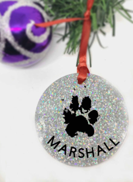 Actual paw print Personalized Pet Memorial Ornament, Dog Sympathy Gift, Loss of Pet Gift, Remembrance Ornament, Pet Owner Gifts, In Memory - Designs By Tera