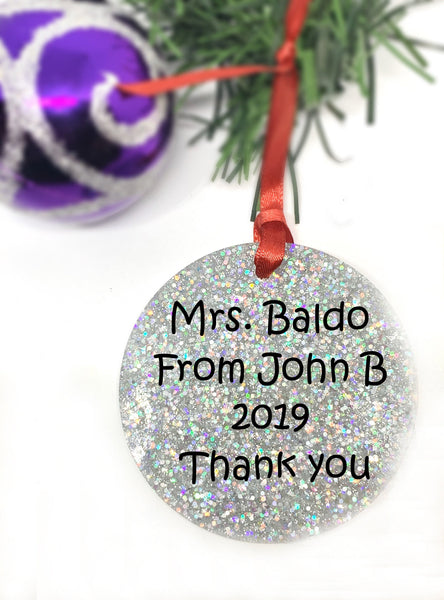 Personalized Teacher Gift Ornament - Personalized Best Teacher Ornament - Teacher Christmas Ornament - Personalized Teacher Ornaments - Designs By Tera