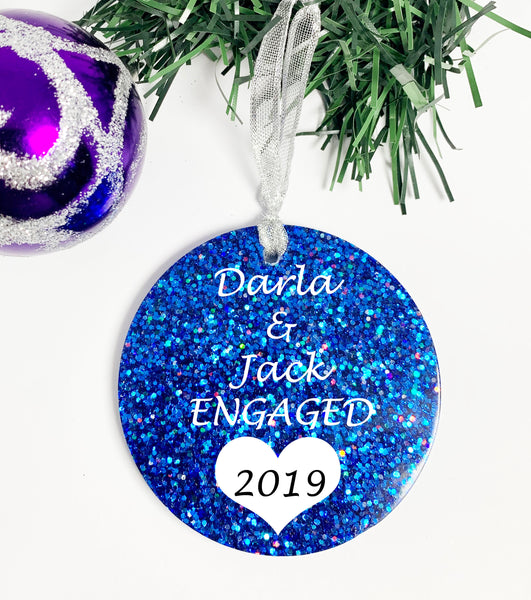 Engagement Ornament - Personalized With Names - Engagement Gift or Christmas Gift, Custom Christmas Engaged Ornament PArty GIft - Designs By Tera