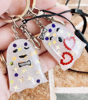 Halloween Couple Keychain set, ghost party set of 2 resin keychain, wrist strap, swivel clip - Designs By Tera
