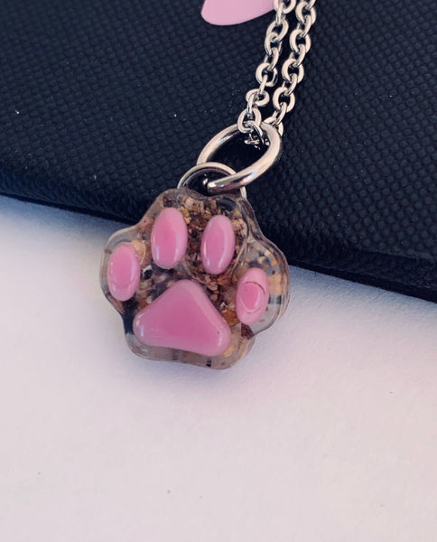 Cat memorial jewelry, pet cremation ashes, fur, Pet loss keepsake necklace , paw charm, necklaces tiny charm - Designs By Tera