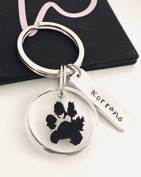 Pet's Actual Paw Print Keychain Cat , Dog Memorial Keychain - Memorial Jewelry Paw Print, Rainbow Bridge Keychain, resin vinyl - Designs By Tera