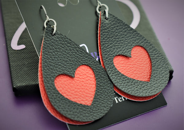 Faux leather earrings, red and black hearts, faux leather, lightweight accessories vsco girl jewelry - Designs By Tera