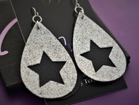 Faux leather earrings, star earrings, silver and black glitter, faux leather, lightweight accessories vsco girl jewelry - Designs By Tera