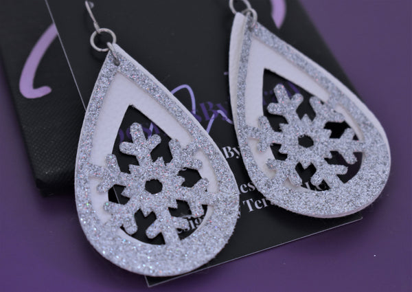 Faux leather earrings, snowflake earrings silver and white tear drops, faux leather, lightweight accessories vsco girl jewelry - Designs By Tera