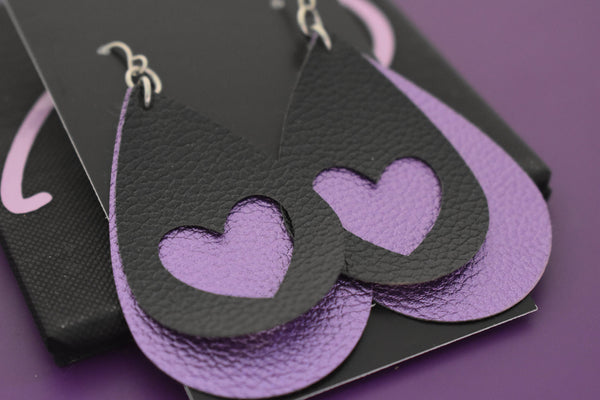 Faux leather earrings, heart earrings purple and black hearts, faux leather, lightweight accessories vsco girl jewelry - Designs By Tera