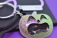 Halloween Pumpkin keychain, purple green orange , personalized tag, one of a kind, silver tone - Designs By Tera