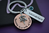 Personalized nurse gift, Keychain for nursing, Rn, Lpn, bsn, cna, graduation gift for nursing students, jewelry keychain - Designs By Tera