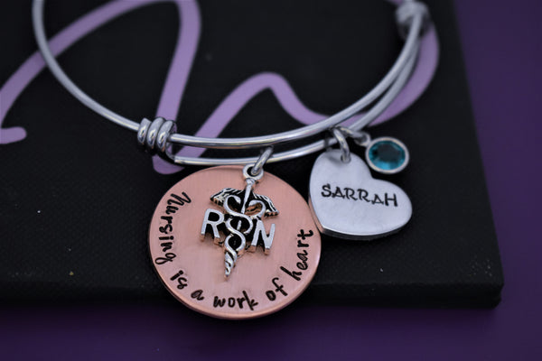 Personalized nurse gift, Bracelet for nursing, Rn, Lpn, bsn, cna, graduation gift for nursing students, jewelry charm bracelet - Designs By Tera