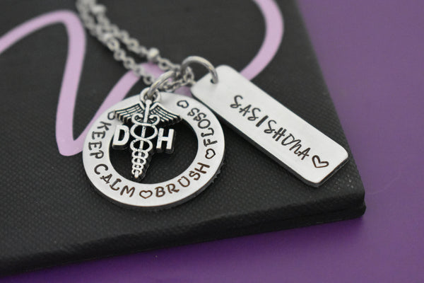 Dental Hygenist Gift, Personalized DH necklace, gift for dental hygenist graduation, custom Dental hygenist, keep calm brush and floss - Designs By Tera