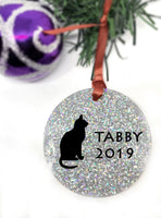 Personalized Pet memorial ornament, cat loss sympathy gift loss of pet Christmas ornament custome name and year - Designs By Tera