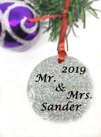 First Christmas as mr. Mrs.Ornament - Personalized With Names - Engagement Gift or Christmas Gift, Custom Christmas Engaged Ornament PArty - Designs By Tera