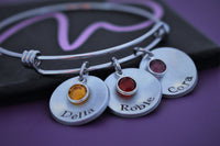 Personalized Mom bracelet, mothers name birthstone jewelry, gift for mom, charms for mom gift - Designs By Tera