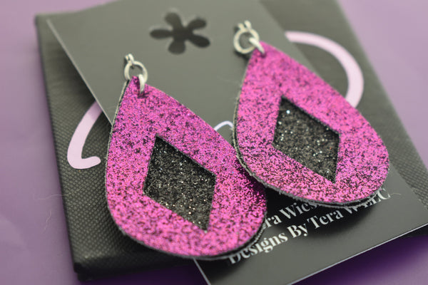 Faux , peddled glitter fabric earrings, diamond earrings, purple and black glitter, faux leather, lightweight accessories vsco girl jewelry - Designs By Tera
