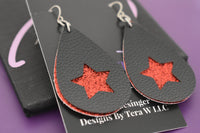 Faux leather earrings, star earrings, red and black glitter, faux leather, lightweight accessories vsco girl jewelry