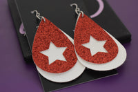 Faux leather earrings, star earrings, red and white glitter, faux leather, lightweight accessories vsco girl jewelry - Designs By Tera