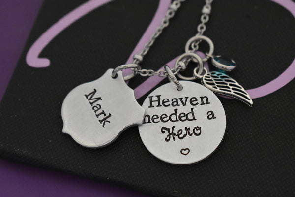 Police Memorial Jewelry Necklace - Memorial Jewelry Personalized officer Jewelry - Heaven needed a Hero - Remembrance - sympathy gift - Designs By Tera