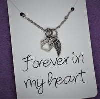 Pet memorial necklace Forever in my heart, personalized dog loss, cat loss, sympathy gift jewelry for loss of pet, dog or cat - Designs By Tera