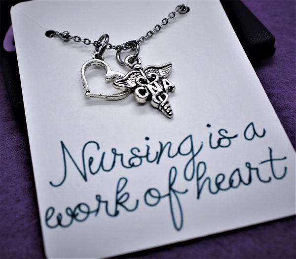 Nurse necklace, CNA, Gift for nurse, graduation gift Nursing is a work of heart, personalized jewelry, certified nursing assistant graduate - Designs By Tera