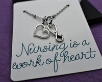Nurse necklace, Gift for nurse, graduation gift Nursing is a work of heart, personalized jewelry, stethoscope, rn bsn cna pa - Designs By Tera