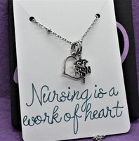 Nurse necklace, RN, Gift for nurse, graduation gift Nursing is a work of heart, personalized jewelry, registered nurse, gift graduate - Designs By Tera