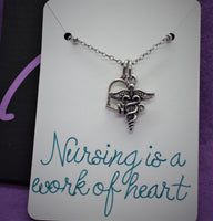 Nurse necklace, NP, Gift for nurse, graduation gift Nursing is a work of heart, personalized jewelry, Nurse practictioner, gift graduate - Designs By Tera