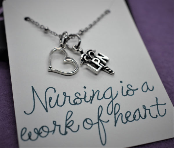 Nurse necklace, LPN, Gift for nurse, graduation gift Nursing is a work of heart, personalized jewelry, licensed practical nurse graduate - Designs By Tera