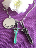 I love Kirito necklace Sword Art Online inspired necklace with Dark Repulser and Elucidator Swords - Designs By Tera
