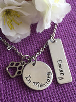 Pet Memorial Gift - Personalized Pet loss Gifts Necklace - Dog - Cat- Rabbit - Bunny - Jewelry - Dog Remembrance - Fur Baby - In Memorial - - Designs By Tera