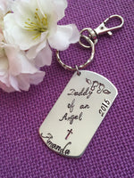 Miscarriage Jewelry - Miscarriage Keychain - Daddy of an angel - Memorial Keychain - Loss keepsake - Gift - Personalized Keychain - Designs By Tera
