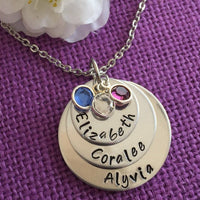 Mom Necklace - Mother's Day Gift  - Personalized Mom Necklace - Stacked Disc Birthstone Necklace - Family Jewelry - Gift for Mom - Mom - Designs By Tera