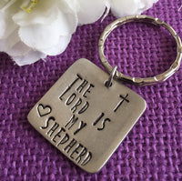 The Lord Is My Shepherd Prayer Keychain - Personalized Keychain - Cross Keychain -Prayer Keychain - Custom Keychain - Pewter - Designs By Tera