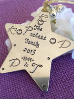 Christmas Personalized Ornament - Name Personalized Ornaments Gift - Family - Star Ornament - Hand stamped Custom - Designs By Tera