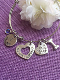 Pet Memorial Jewelry, Personalized Dog Memorial Bracelet, Pet Loss Gift, you left paw prints on my heart, bangle