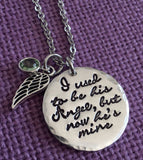 Memorial jewelry dad, remembrance necklace, sympathy gift, I used to be his angel now he's mine, Loss of Husband - Designs By Tera