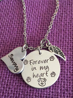 Pet Memorial Jewelry, Dog loss Necklace, sympathy gift, Cat remembrance, Forever in my Heart, In memory - Designs By Tera