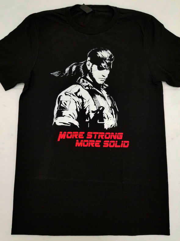 A black t-shirt with an image in the likeness of Solid Snake from Metal Gear Solid