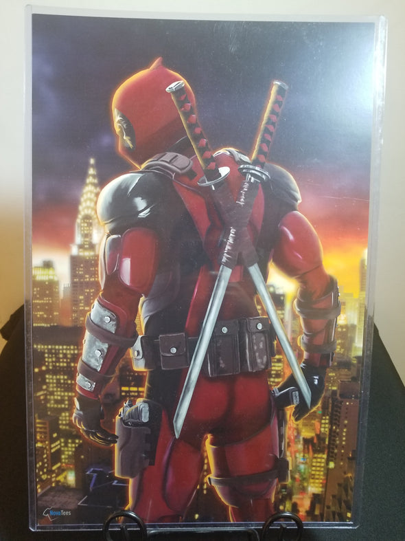 Poster in the likeness of Deadpool from Marvel looking over his shoulder