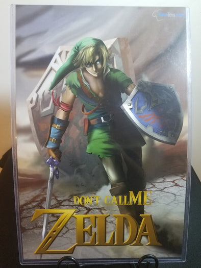 Poster in the likeness of Link from Zelda walking while wielding his sword and shield