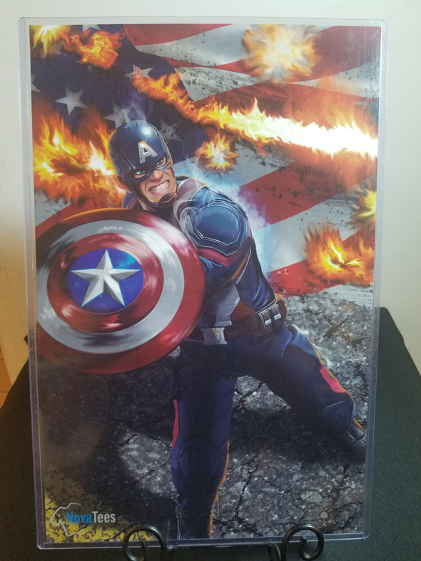 Poster in the likeness of Captain America from Marvel with a flag on fire in the background