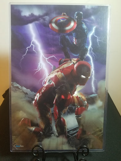 Poster in the likeness of Iron Man and Captain America from Marvel fighting each other