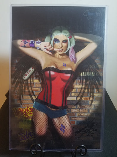 Poster in the likeness of Harley Quinn posing with her finger in her mouth